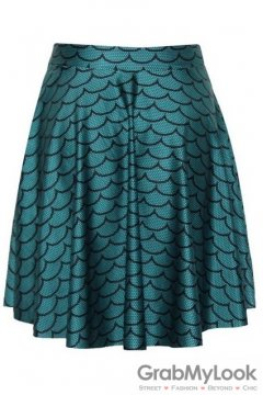 Green Fish Scales Skater A Line Dress Mini Skirt