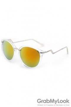Vintage Clear Transparent Frame Dark Yellow Polarized Round Lens ZigZag Arm Sunglasses