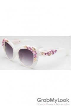 Crystals Diamante Flowers Retro Vintage Baroque White Butterfly Sunglasses Eyewear