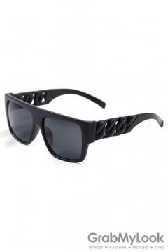 Vintage Punk Rock Oversized Black Frame Black Chain Rectangular Lens Sunglasses