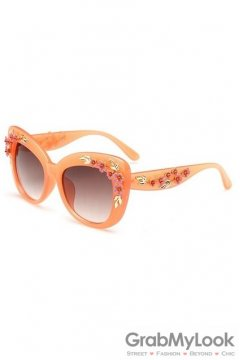 Crystals Diamante Flowers Retro Vintage Baroque Orange Peach Pink Butterfly Sunglasses Eyewear