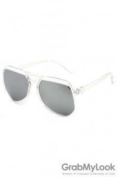 Vintage Pilot Aviator Oversized Clear Transparent Frame Silver Mirror Polarized Lens Sunglasses