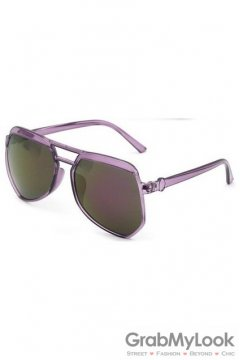 Vintage Pilot Aviator Oversized Purple Transparent Frame Purple Polarized Lens Sunglasses