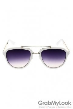 Vintage Oversized Purple Mirror Polarized White Round Lens Sunglasses