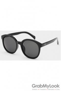 Vintage Oversized Black Frame Dark Grey Transparent Round Lens Sunglasses