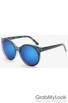 Vintage Blue Leopard Oversized Blue Mirror Polarized Round Lens Sunglasses