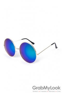 Vintage Gold Metal Frame Yellow Blue Mirror Round Oversized Lens Sunglasses