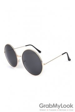 Vintage Gold Metal Frame Dark Grey Round Oversized Lens Sunglasses