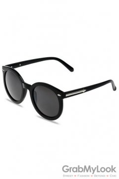 Vintage Black Oversized Black Transparent Round Lens Metal Arrow Sunglasses