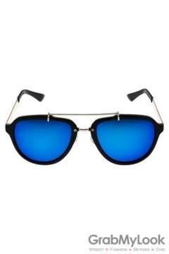 Vintage Oversized Blue Mirror Polarized Black Round Lens Sunglasses