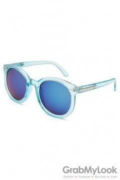 Vintage Blue Oversized Blue Transparent Round Lens Metal Arrow Sunglasses
