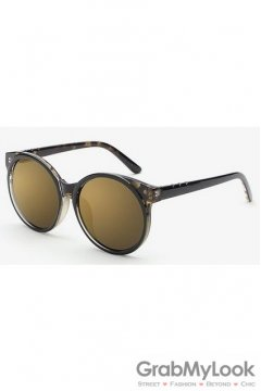 Vintage Black Leopard Oversized Gold Mirror Polarized Round Lens Sunglasses