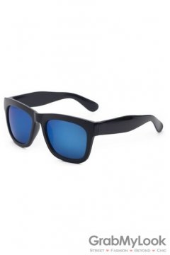 Vintage Black Oversized Blue Rectangular Polarized Mirror Lens Sunglasses