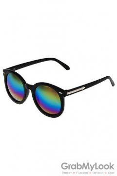 Vintage Black Oversized Rainbow Round Lens Metal Arrow Sunglasses