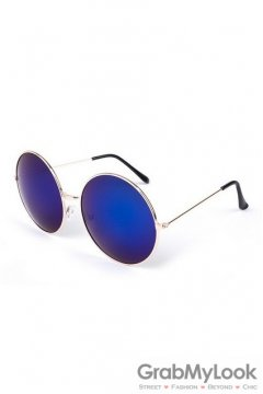 Vintage Gold Metal Frame Dark Blue Mirror Round Oversized Lens Sunglasses