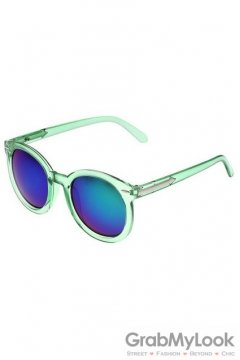 Vintage Green Transparent Oversized Blue Transparent Round Lens Metal Arrow Sunglasses