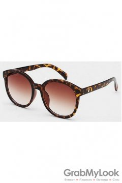 Vintage Oversized Leopard Frame Brown Transparent Round Lens Sunglasses