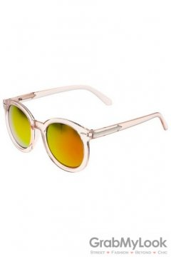 Vintage Pink Transparent Oversized Gold Red Transparent Round Lens Metal Arrow Sunglasses