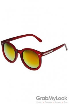 Vintage Red Transparent Oversized Orange Transparent Round Lens Metal Arrow Sunglasses