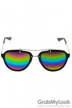 Vintage Oversized Rainbow Mirror Polarized Black Round Lens Sunglasses