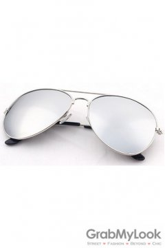 Vintage Pilot Aviator Silver Mirror Lens Silver Metal Frame Sunglasses