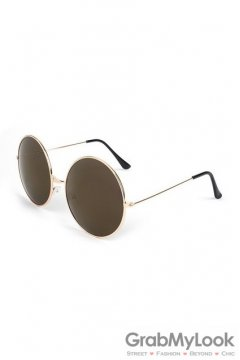 Vintage Gold Metal Frame Dark Brown Mirror Round Oversized Lens Sunglasses