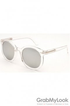Vintage Clear Transparent Oversized Silver Mirror Transparent Round Lens Metal Arrow Sunglasses