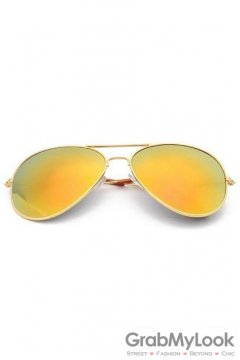 Vintage Pilot Aviator Gold Yellow Lens Gold Metal Frame Sunglasses