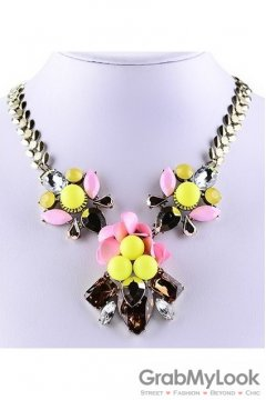 Yellow Stones Flower Bohemia Vintage Silver Chain Punk Rock Necklace Exotic