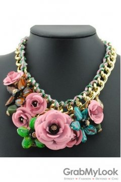 Exotic Giant Pink Rose Flower Bohemia Vintage Gold Chain Punk Rock Necklace