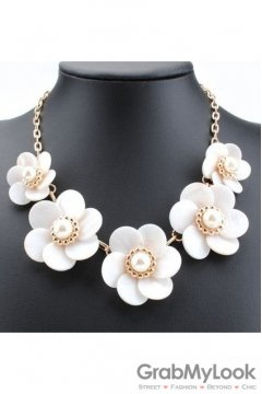 Exotic Giant White Petal Rose Flower Bohemia Vintage Gold Chain Punk Rock Necklace