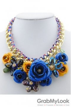 Exotic Giant Blue Rose Flower Bohemia Vintage Gold Chain Punk Rock Necklace