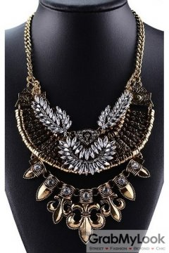 Giant Gold Medieval Pointy Bohemia Vintage Chain Punk Rock Necklace Tribal Exotic