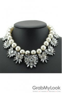 Pearls Rhinestone Crystal Diamante Glamorous White Vintage Necklace