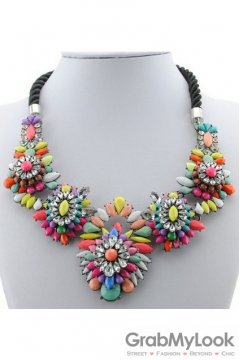 Rhinestone Crystal Diamante Glamorous Bohemia Colorful Floral Flower Vintage Necklace