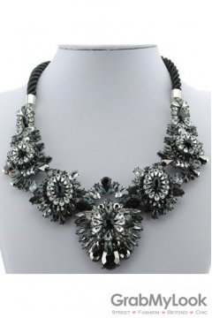 Rhinestone Crystal Diamante Glamorous Bohemia Black Floral Flower Vintage Necklace