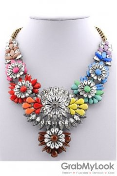 Rhinestone Crystal Diamante Glamorous Bohemia Colorful Vintage Necklace