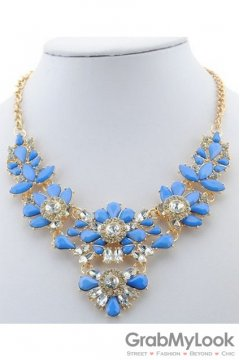 Rhinestone Crystal Diamante Glamorous Blue Vintage Necklace