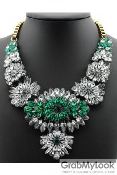Rhinestone Crystal Diamante Glamorous Bohemia Green White Tribal Vintage Necklace