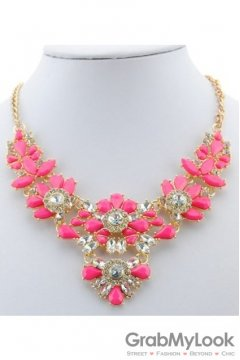 Rhinestone Crystal Diamante Glamorous Pink Vintage Necklace
