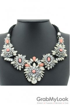 Rhinestone Crystal Diamante Glamorous Bohemia White Pink Floral Flower Vintage Necklace