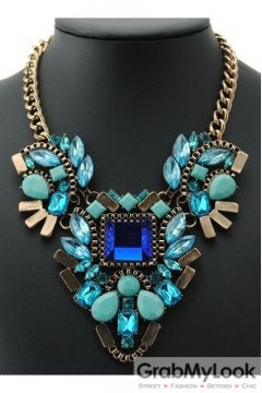 Giant Rhinestone Crystal Diamante Glamorous Bohemia Blue Vintage Necklace