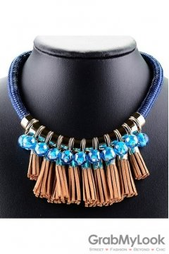 Exotic Tribal Bohemia Blue Brown Tassels Vintage Necklace