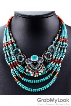 Multiple Strands Crystal Diamante Glamorous Tribal Bohemia Vintage Blue Necklace