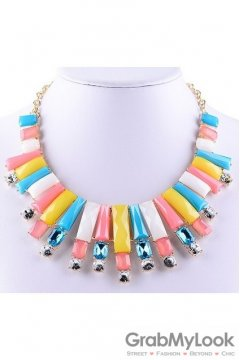 Rhinestone Crystal Rectangular Diamante Glamorous Bohemia Colorful Candy Vintage Necklace