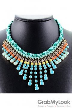 Tribal Bohemia Exotic Vintage Blue Necklace