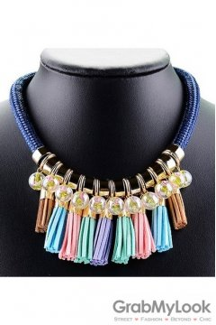 Exotic Tribal Bohemia Blue Colorful Tassels Vintage Necklace