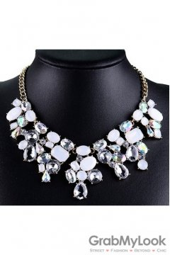 Giant Rhinestone Crystal Diamante Glamorous Tribal Bohemia Vintage White Necklace