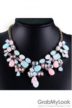 Giant Rhinestone Crystal Diamante Glamorous Tribal Bohemia Vintage Blue Pink Necklace