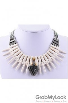 Bone Shape Exotic Tribal Bohemia Vintage White Cream Necklace